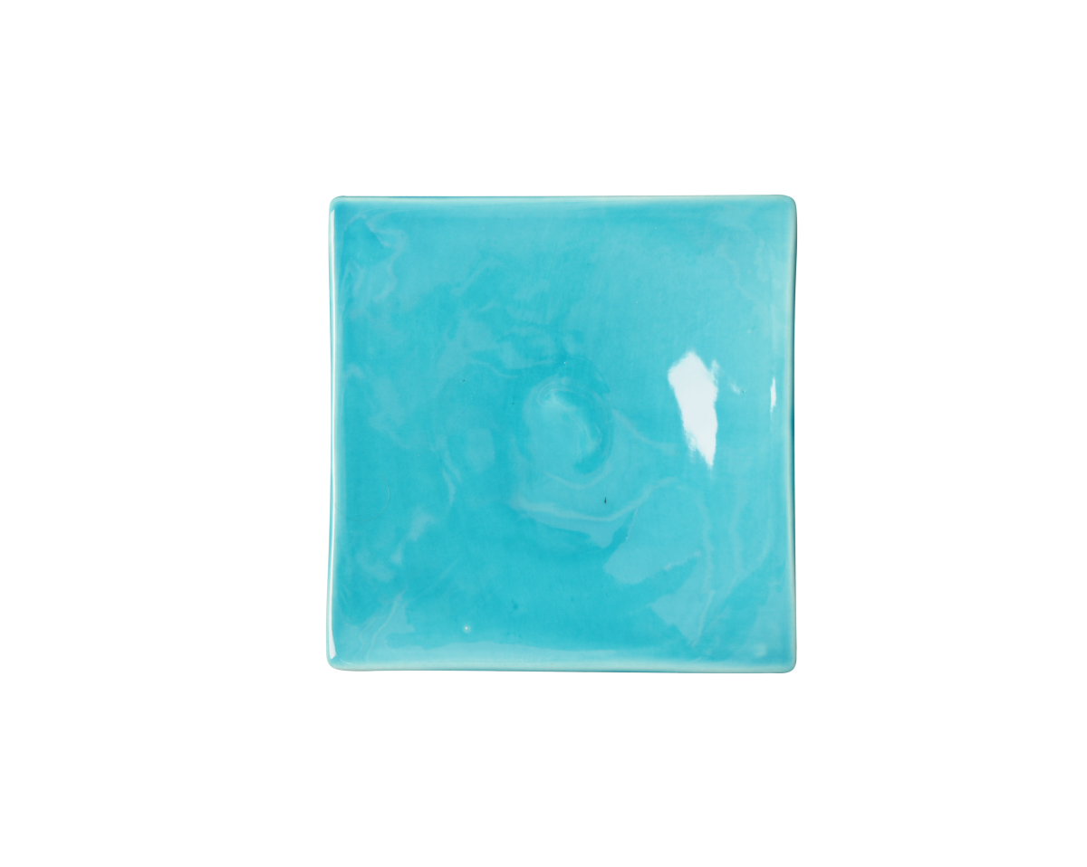 Turquoise Square Dinner Plate 100 Made In France